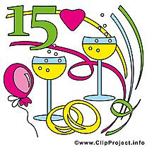 15 ans anniversaire mariage clipart