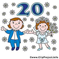 20 ans anniversaire mariage clipart
