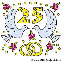 25 ans anniversaire mariage clipart