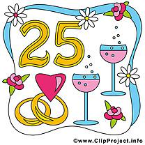 25 ans anniversaire mariage illustration gratuite