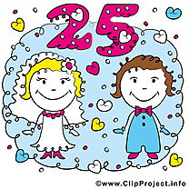 25 ans anniversaire mariage illustrations