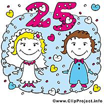 25 ans anniversaire mariage illustrations
