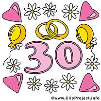 30 ans anneaux anniversaire mariage dessins gratuits