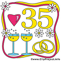 35 ans anniversaire mariage clip arts gratuits