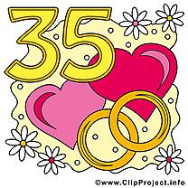35 ans coeurs anniversaire mariage clipart