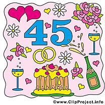 45 ans anniversaire mariage dessins gratuits