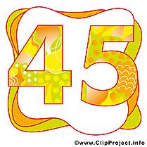 45  ans image à télécharger – Anniversaire clipart