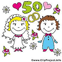 50 ans anniversaire mariage clipart