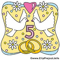 5 ans anniversaire mariage image à télécharger gratuite