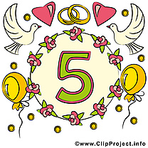 5 ans anniversaire mariage image gratuite