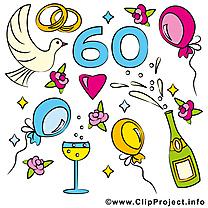 60 ans champagne anniversaire mariage dessin