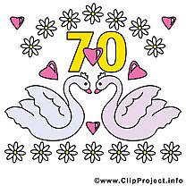 70 ans anniversaire mariage clipart