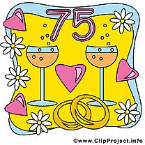 75 ans anniversaire mariage illustration