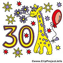 Anniversaire 30 ans  illustration à télécharger gratuite