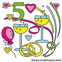 Anniversaire de mariage clip art gratuit – 5 ans images