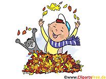 Chat feuilles clipart – Automne dessins gratuits