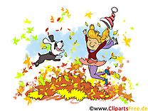 Chien feuilles clipart – Automne dessins gratuits