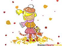 Fille chat image gratuite – Automne cliparts