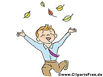 Garçon feuilles image gratuite – Automne cliparts