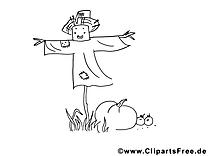 Illustration gratuite à colorier épouvantail – Automne clipart