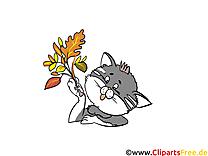 Images chat – Automne dessins gratuits
