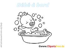 Bain clipart à colorier – Bébé à bord images