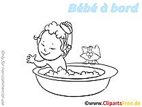 Bain illustration à imprimer – Bébé à bord clipart