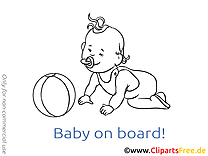 Balle image à colorier – Bébé à bord clipart