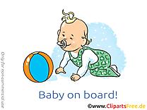 Balle image gratuite – Bébé à bord illustration