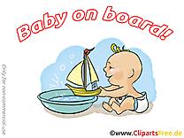 Bateau dessin – Bébé à bord cliparts à télécharger