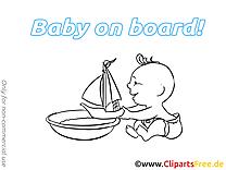 Bateau images à colorier – Bébé à bord clipart