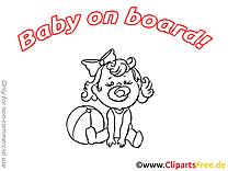 Bébé à bord illustration à imprimer gratuite