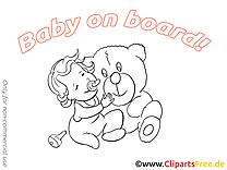 Bébé à bord illustration à imprimer ours en peluche