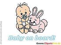 Bébé à bord illustration lapin gratuite