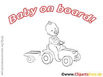 Bébé à bord image à colorier gratuite