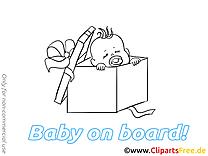 Boîte dessin à imprimer – Bébé à bord image