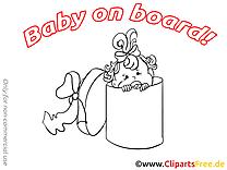 Boîte image à imprimer – Bébé à bord cliparts