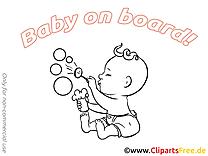 Bulles de savon illustration à imprimer – Bébé à bord images