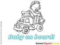 Camion dessin à imprimer – Bébé à bord images