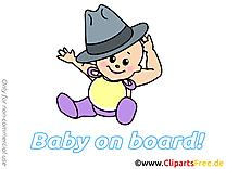 Chapeau dessin – Bébé à bord cliparts à télécharger