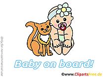 Chat image – Bébé à bord images cliparts