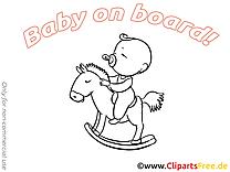 Cheval en bois illustration à colorier – Bébé à bord images
