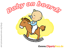 Cheval en bois illustration gratuite – Bébé à bord clipart