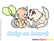 Chien clip arts gratuits – Bébé à bord illustrations