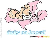 Chou image gratuite – Bébé à bord clipart