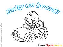 Coloriage clip art voiture – Bébé à bord dessin