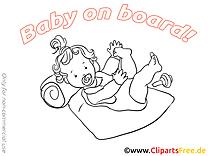 Coloriage images enfant – Bébé à bord clipart