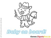 Cowboy images à imprimer – Bébé à bord dessins gratuits