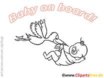 Cygogne dessin à colorier – Bébé à bord clip arts gratuits