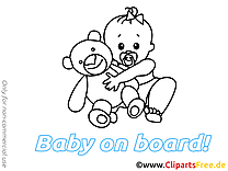 Dessin à colorier ours en peluche – Bébé à bord à télécharger